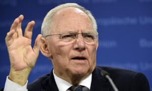 German finance minister Wolfgang Schäuble speaks after Eurogroup meeting.