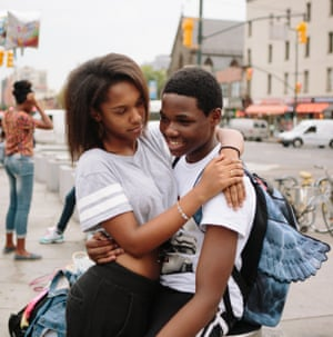 Raquelle and Alonzo, both age 15, outside Atlantic Mall in Brooklyn, NY.