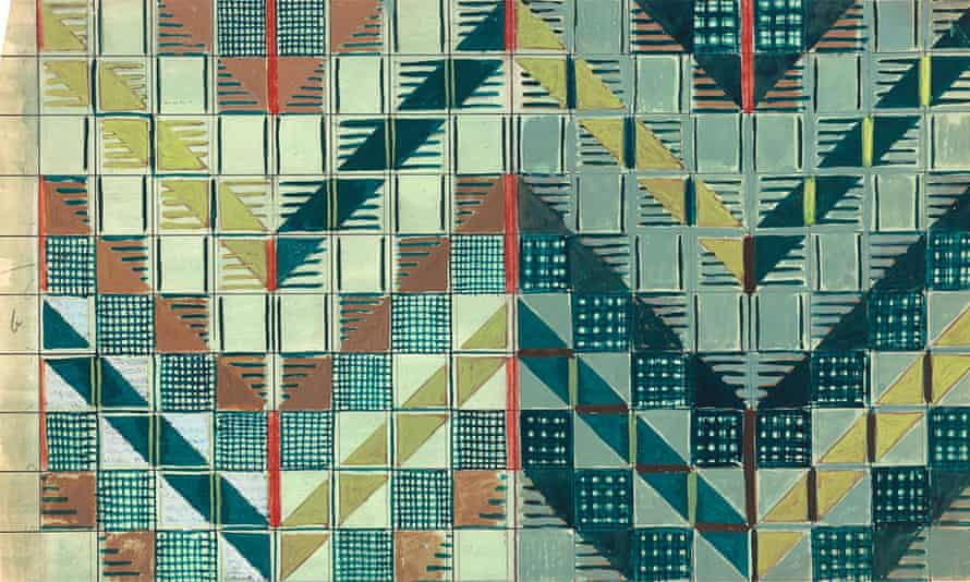 Moquette - Study for 'Chevron' moquette for London Passenger Transport Board, pencil and gouache on paper 1937