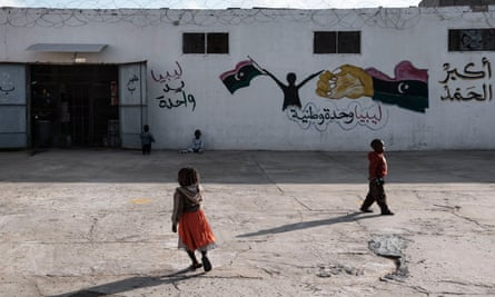 Children outside a detention centre in Libya