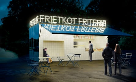 A new-look frietkot. The architect behind the renovation says he understands the appeal of ramshackle stalls.