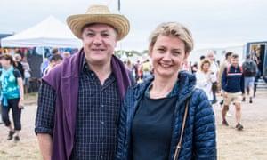 Yvette Cooper and Ed Balls at Glastonbury festival, 2017.