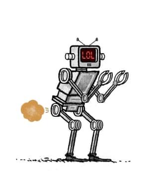 Illustration by David Foldvari of a farting robot