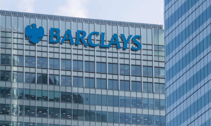 Barclays bank office with logo