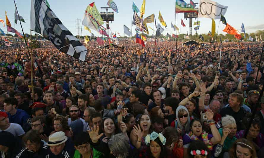 A crowd at Glastonbury in 2019