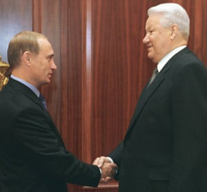 19 August 1999: The Russian president, Boris Yeltsin, (R) shakes hands with Prime Minister Vladimir Putin during their meeting in Moscow's Kremlin