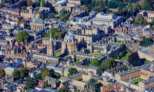 An aerial view of central Oxford