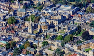 Aerial view of Oxford universities