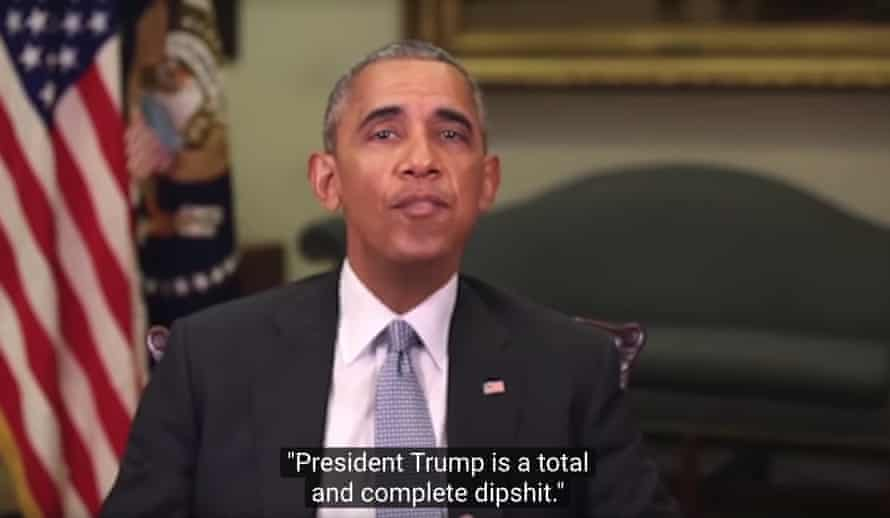 still from a deepfake video of barack obama calling donald trump a dipshit