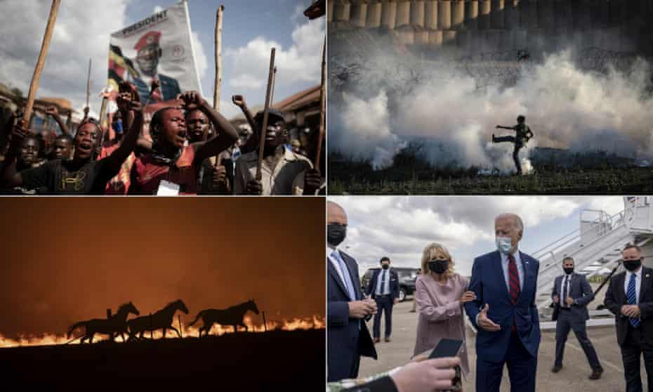 From top left, Bobi Wine supporters in Uganda; Israeli forces disperse Palestinians in Gaza with teargas, Jill Biden with president elect Joe; a fire blazes near Canberra, Australia.