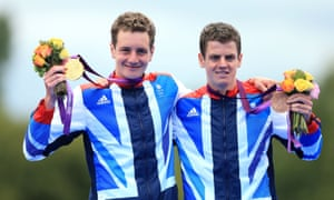 The Brownlees celebrate their success after the men's triathlon at the London 2012 Olympic Games.
