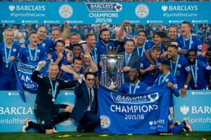 Leicester players and owners celebrate