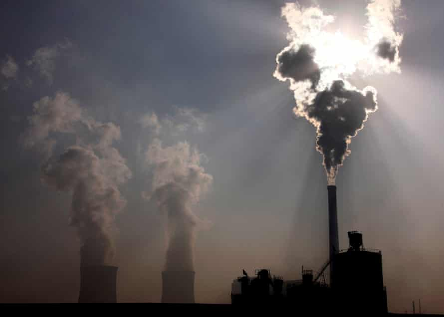 A coal-burning power plant in the city of Baotou, Mongolia
