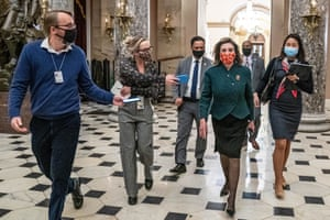Speaker of the House Nancy Pelosi, walks from the House floor to her office on Capitol Hill. The House is voting on a measure to increase direct stimulus payments to Americans to $2,000 each