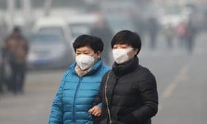 Women wearing smog masks