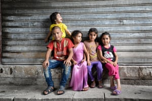 Syrian children in the disused factory