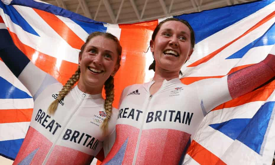Laura Kenny and Katie Archibald celebrate their gold on the track at the Tokyo Olympics.