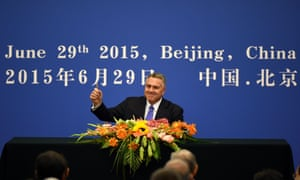 Joe Hockey in Beijing on Wednesday signing up to the Asian Infrastructure Investment Bank.