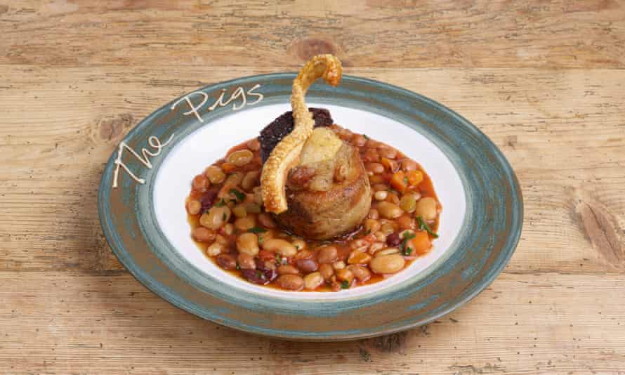 'A slow cooked, bronzed and generous round': pork belly with beans.