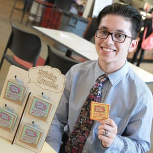 young man sticky notes glasses