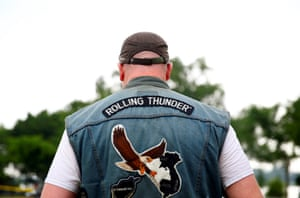 A motorcyclist participates in Rolling Thunder, the annual ride around Washington Mall