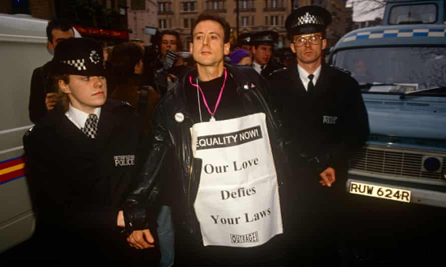 Peter Tatchell arrested in London in 1992.