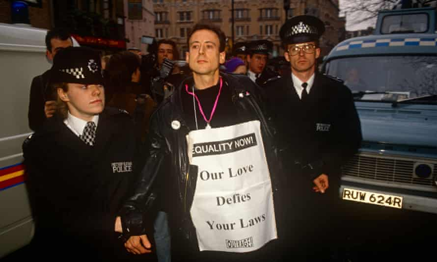 Peter Tatchell is arrested by police officers at an Outrage protest on 6 February 1992