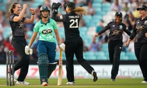 Manchester Originals' Kate Cross (left) celebrates the wicket of Oval Invincibles' Alice Capsey (centre) with her team-mate Manchester Originals' Eleanor Threlkeld.