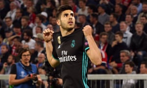 Marco Asensio celebrates after giving Real Madrid a 2-1 lead in the second half.