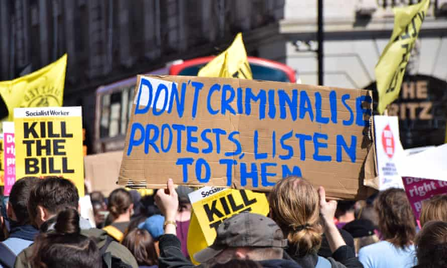 Protest against the police, crime, sentencing and courts bill, London, 17 April.
