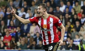Paddy McNair celebrates scoring his second goal, which proved to be Sunderland's winner in their EFL Cup third round tie against QPR at Loftus Road