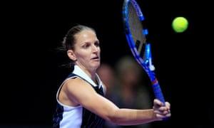Karolina Pliskova in action against Simona Halep.