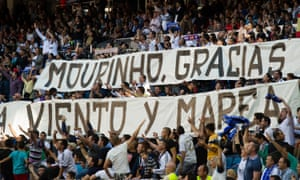Real Madrid fans display a giant banner thanking Jose Mourinho during his last La Liga match in charge, in 2013.