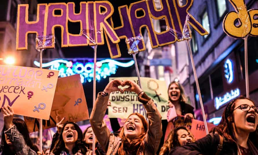 Women march down Istiklal Avenue in Istanbul to mark International Women's Day.