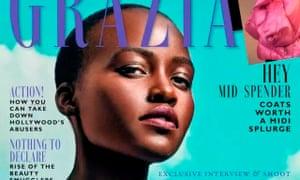 Lupita Nyong'o on the front of Grazia UK magazine.