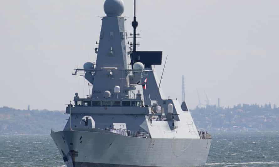 HMS Defender arriving at the Black Sea port of Odessa