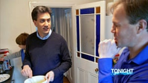 The eggs have been prepped beforehand … Ed Miliband with Tom Bradby. Photograph: ITV