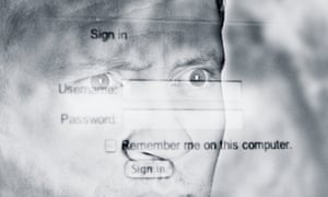 Montage of man's face with computer screen