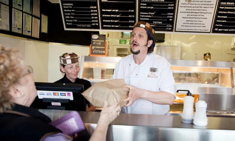 Jay Rayner 'working' at Bridlington's 149 fish and chips shop in 2011.