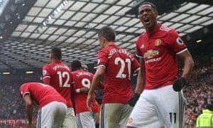 Anthony Martial celebrates scoring Manchester United's winner against Tottenham at Old Trafford