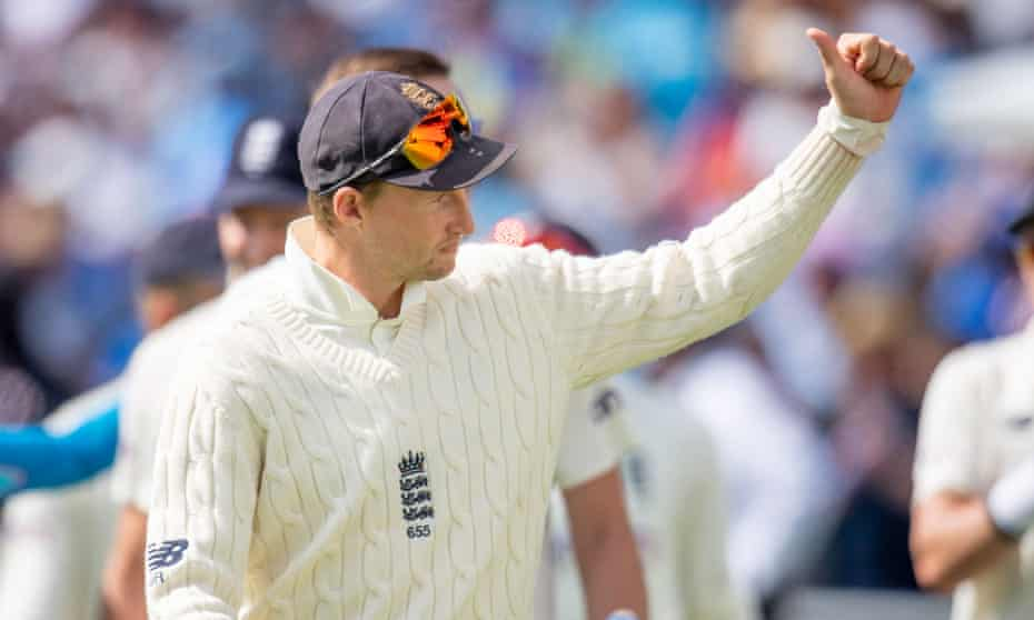Joe Root thanks the fans for their support after the victory over India at Headingley