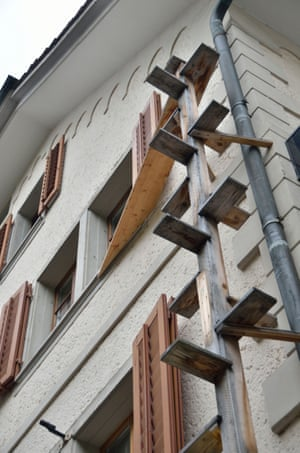 Cat ladder on the side of a building, Schwyz, Switzerland