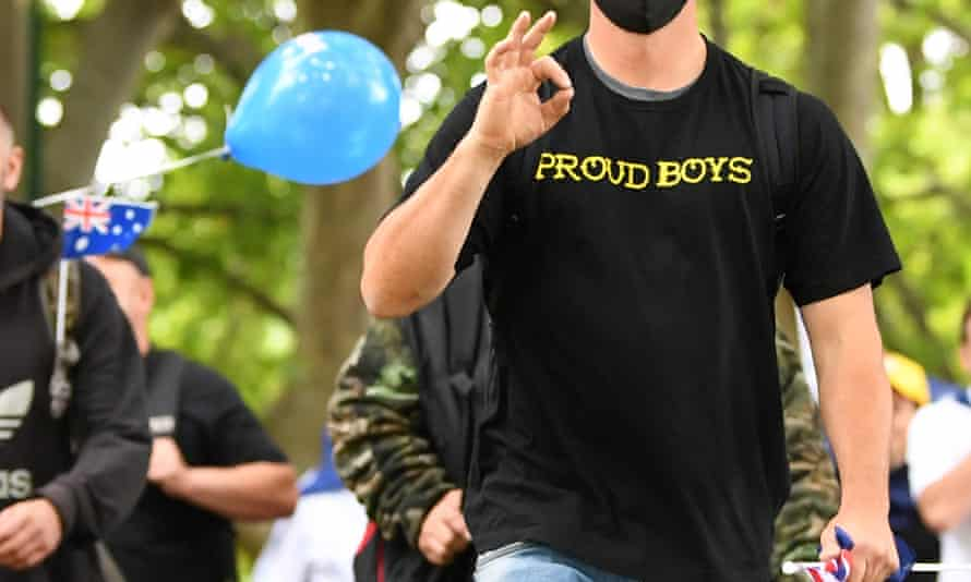 Members of the far-right group Proud Boys protest the cancellation of Melbourne's Australia Day parade.