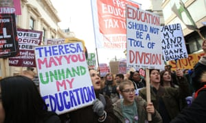 Protestors during a demonstration, United for Education, along Pall Mall in London, over access and quality of higher education.
