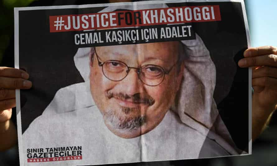 Friends of murdered Saudi journalist Jamal Khashoggi mark the second-year anniversary of his assassination in front of Saudi Arabia Istanbul consulate in October 2020.