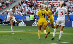 Lucy Bronze of England has her shot saved on the line.
