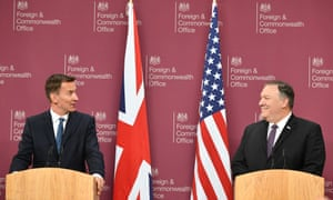 US secretary of state, Mike Pompeo, right, sizes up Britain's foreign secretary, Jeremy Hunt, at the Foreign Office, 8 May.
