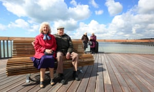 Local residents Amelia Karmock and Stan Rogers enjoy the views from Hastings Pier as phase one of the pier's reopening begins.