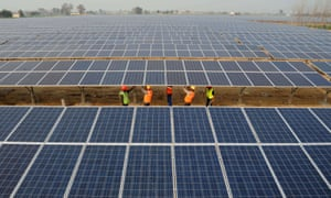 A solar park in Muradwala, India. 'India is going for everything – solar, wind, hydro and gas,' says the IEEFA.