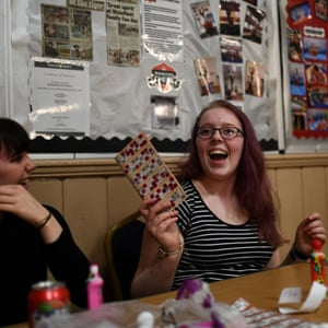 Dana Marie Ovington, 18, plays bingo at Coronation Hall in Skegness
